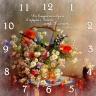 """Часы квадратные """"Да владычествует в сердцах ваших мир Божий..."""" /цветы/"""
