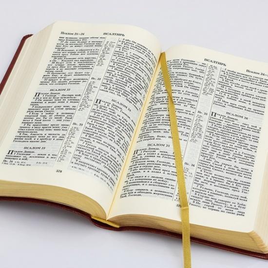 БИБЛИЯ КАНОНИЧЕСКАЯ 055 DZG Коричнево-розовый, гибкий переплет на молнии, золотой обрез, закладка /135х210/