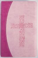 БИБЛИЯ КАНОНИЧЕСКАЯ 055. Орнаментальный крест, розовый-светло-розовый, иск. кожа, золотой обрез /126х195/