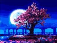 """КАРТИНА ПО НОМЕРАМ PAINTBOY """"Сакура на фоне луны"""" /40х50/"""