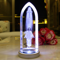 Cтелла с 3D лазерной гравировкой в закаленном стекле: «ВОЗНЕСЕНИЕ ИИСУСА» /c подсветкой/