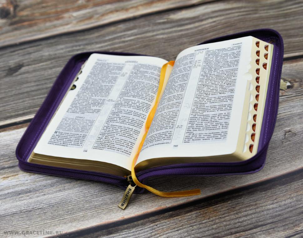 БИБЛИЯ 047 ZTI Терновый венец, крест, фиолетовый цвет, кожаный переплет, молния, зол. обрез, индексы, две закладки /120х180/