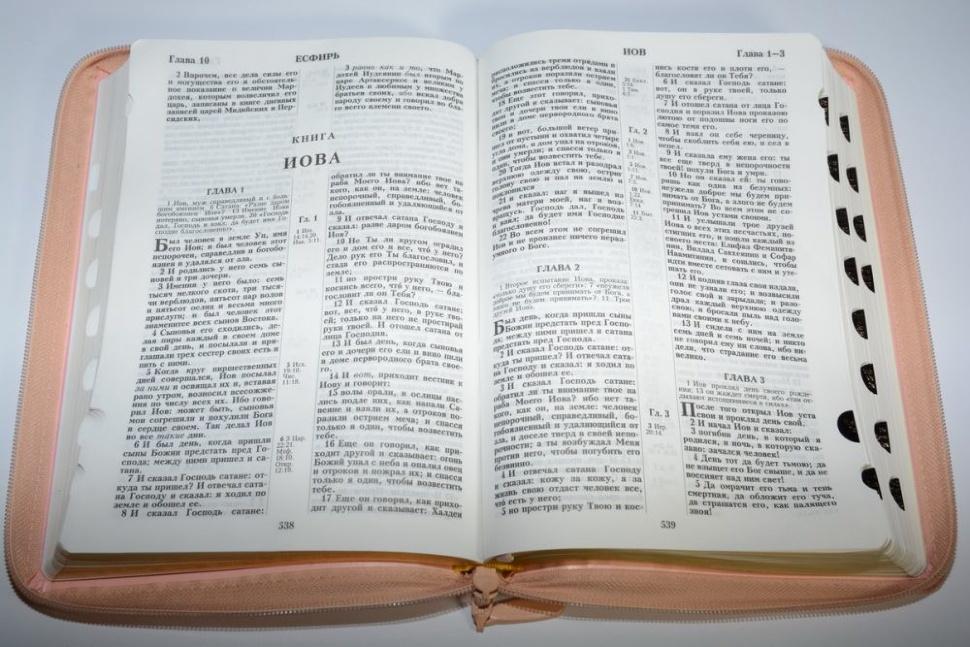 БИБЛИЯ 075 ZTI Сердце, розовая, термовинил, молния, зол. обрез, индексы, 2 закладки /240x180/