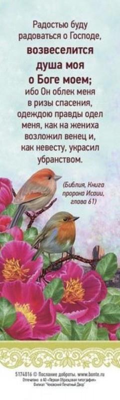 Закладка одинарная 4x16: Радостью буду радоваться о Господе