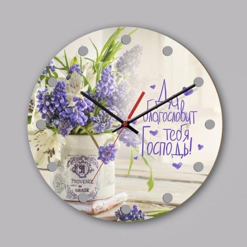 """Часы настенные из дерева: """"Да благословит тебя Господь"""" №2"""