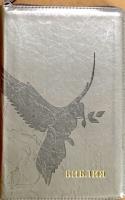 БИБЛИЯ 055 ZTI Серебристый с прожилками, голубь, искусственная кожа, молния, индексы, две закладки, серебряный срез, параллельные места, крупный шрифт /143х220/